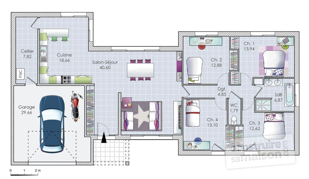 maison plain pied plan
