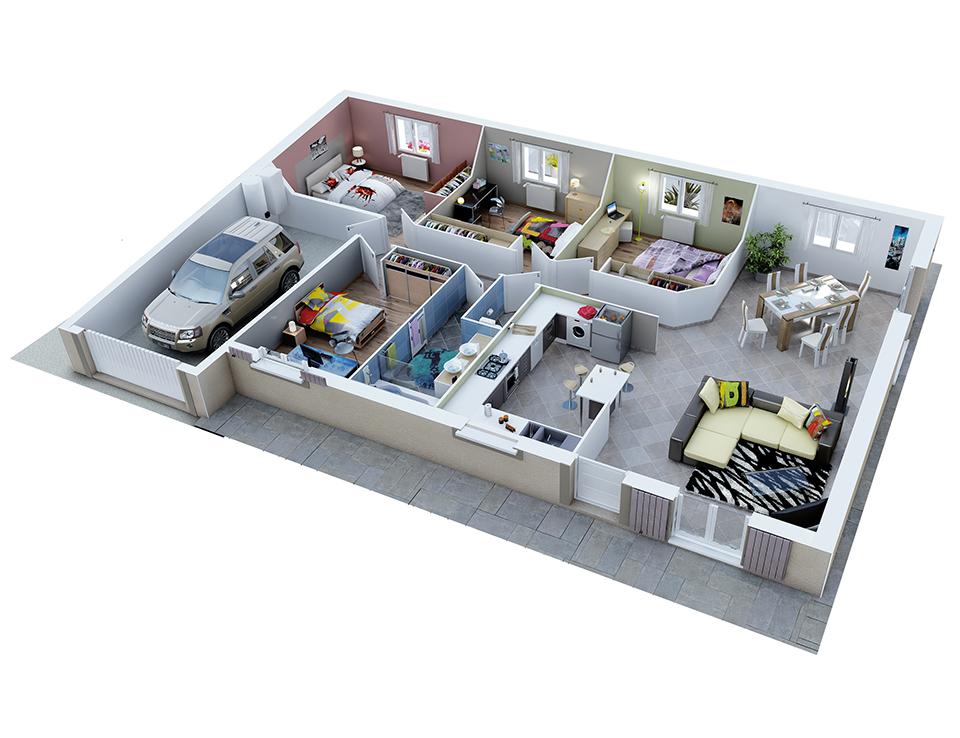 plan de maison rectangulaire plain pied