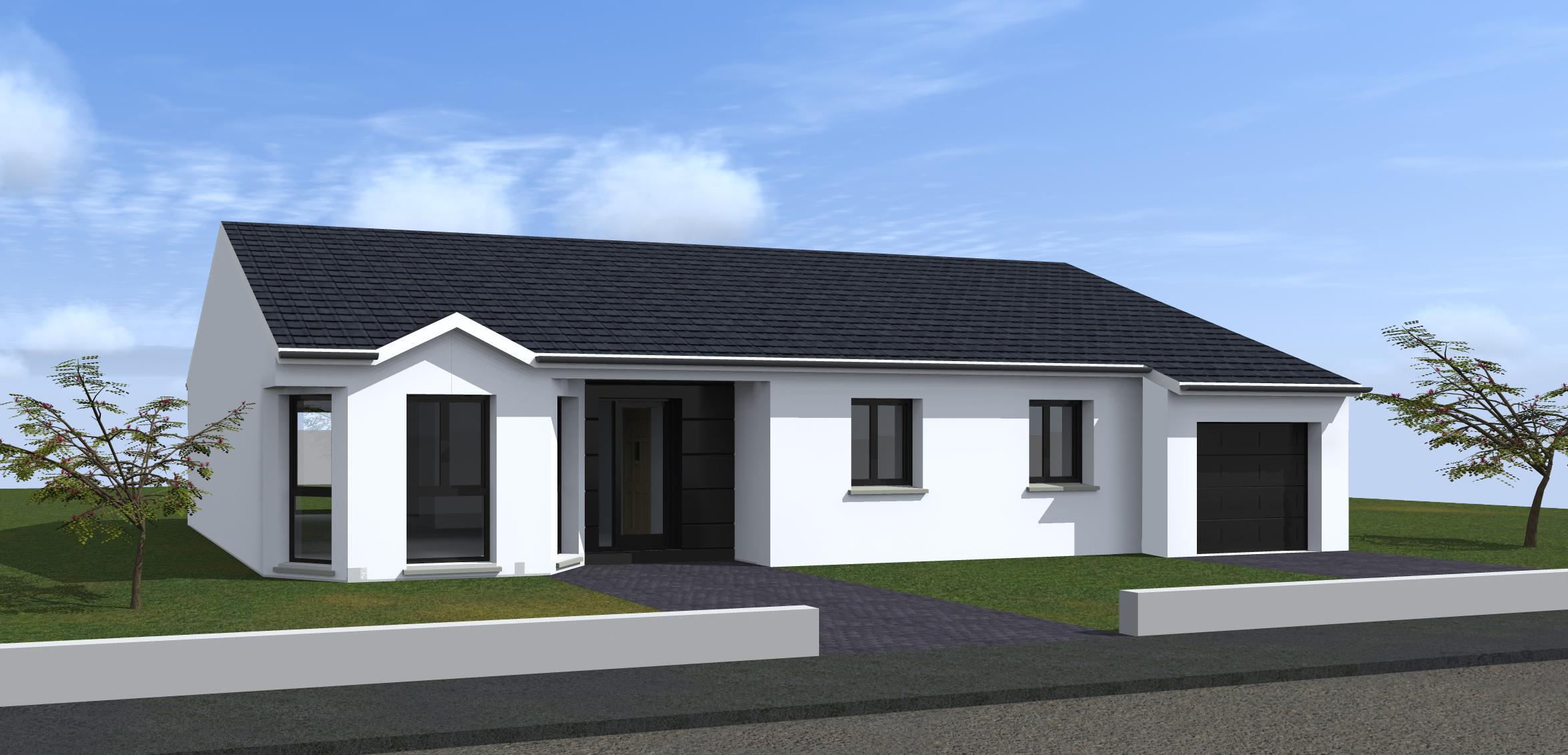 maison plain pied toit 2 pans