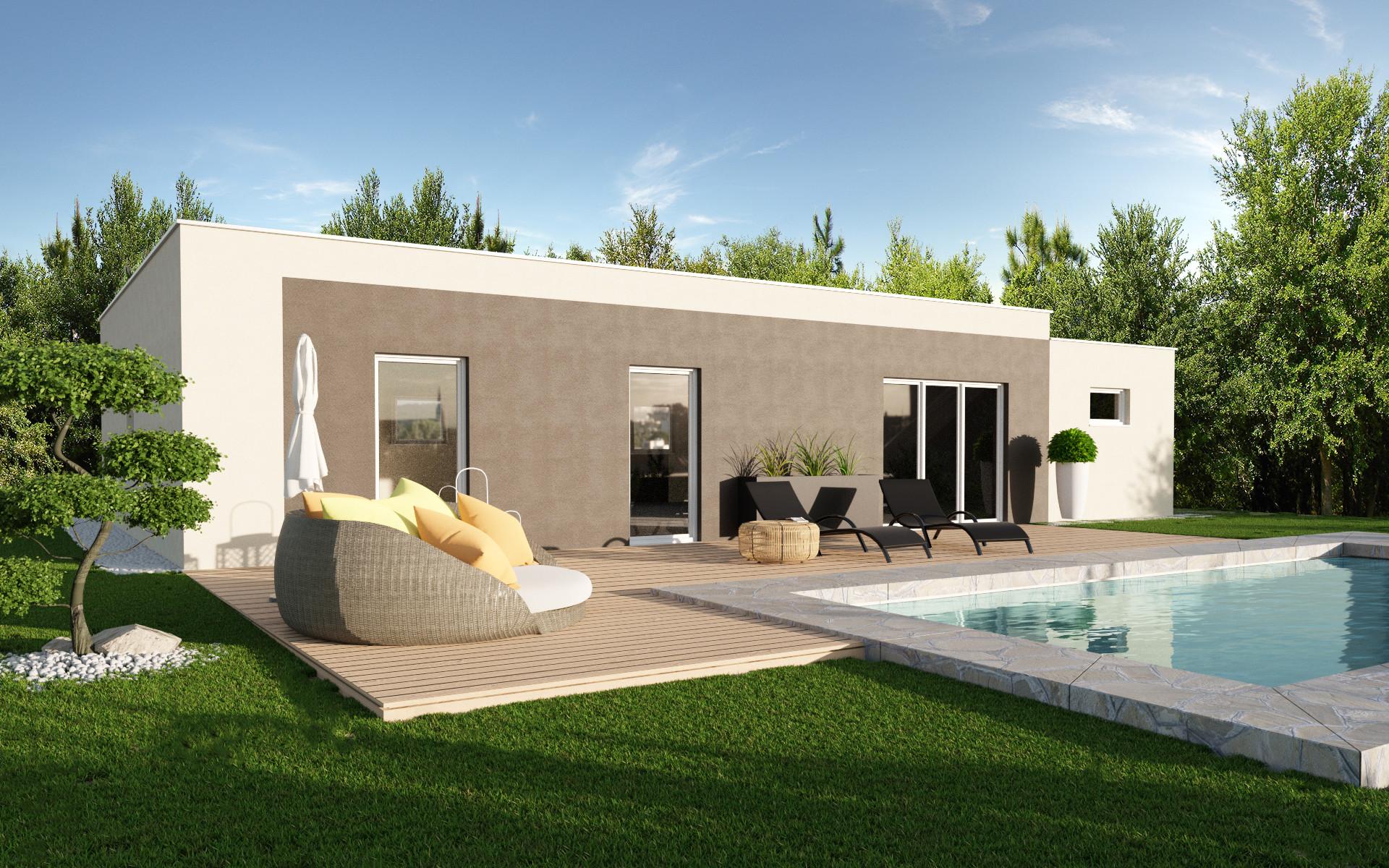 maison plain pied toit plat. Black Bedroom Furniture Sets. Home Design Ideas
