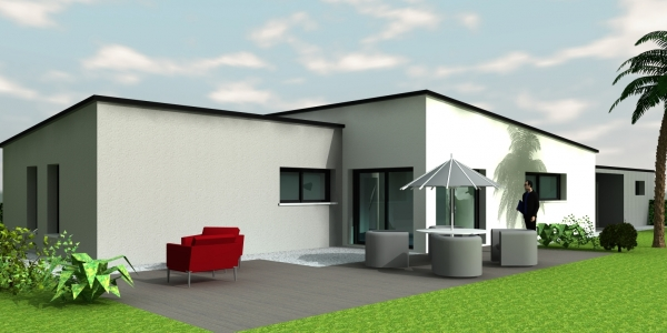 Maison toit zinc plain pied
