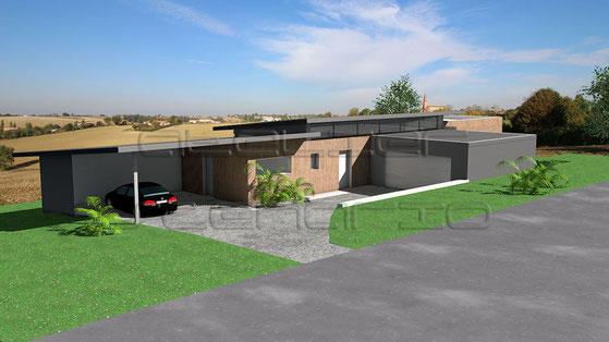 maison plain pied toit zinc. Black Bedroom Furniture Sets. Home Design Ideas