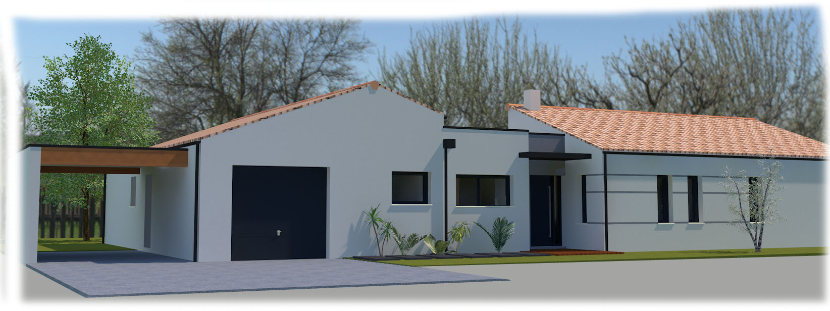 Maison plain pied vendee for Maison contemporaine vendee