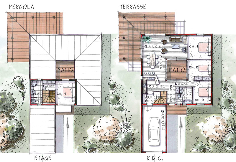 maison etage patio