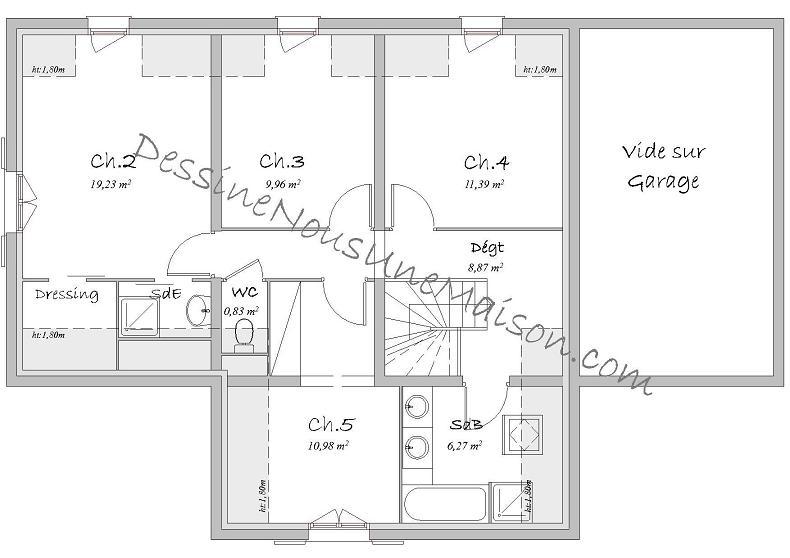 maison etage plan gratuit