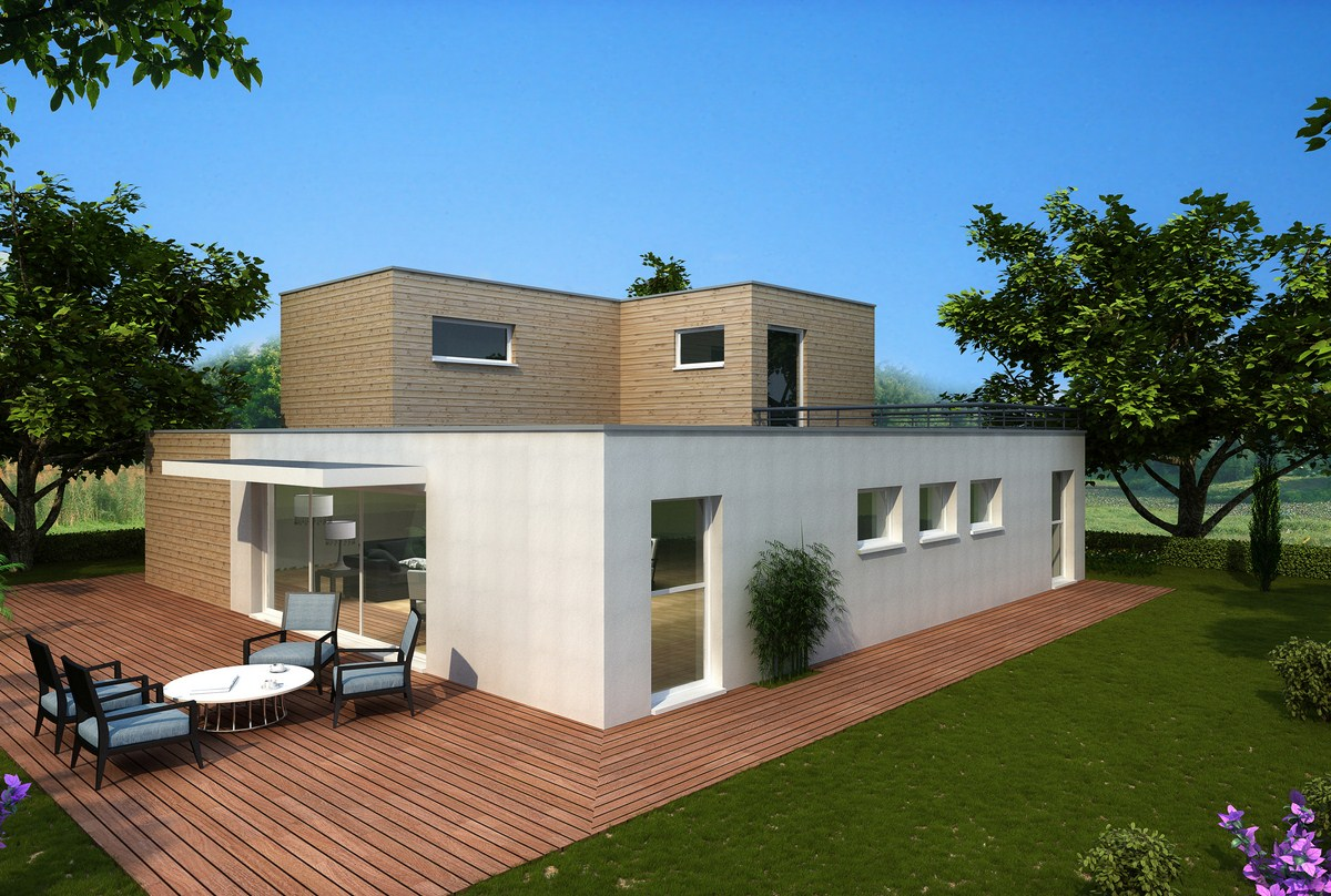 maison etage toit plat