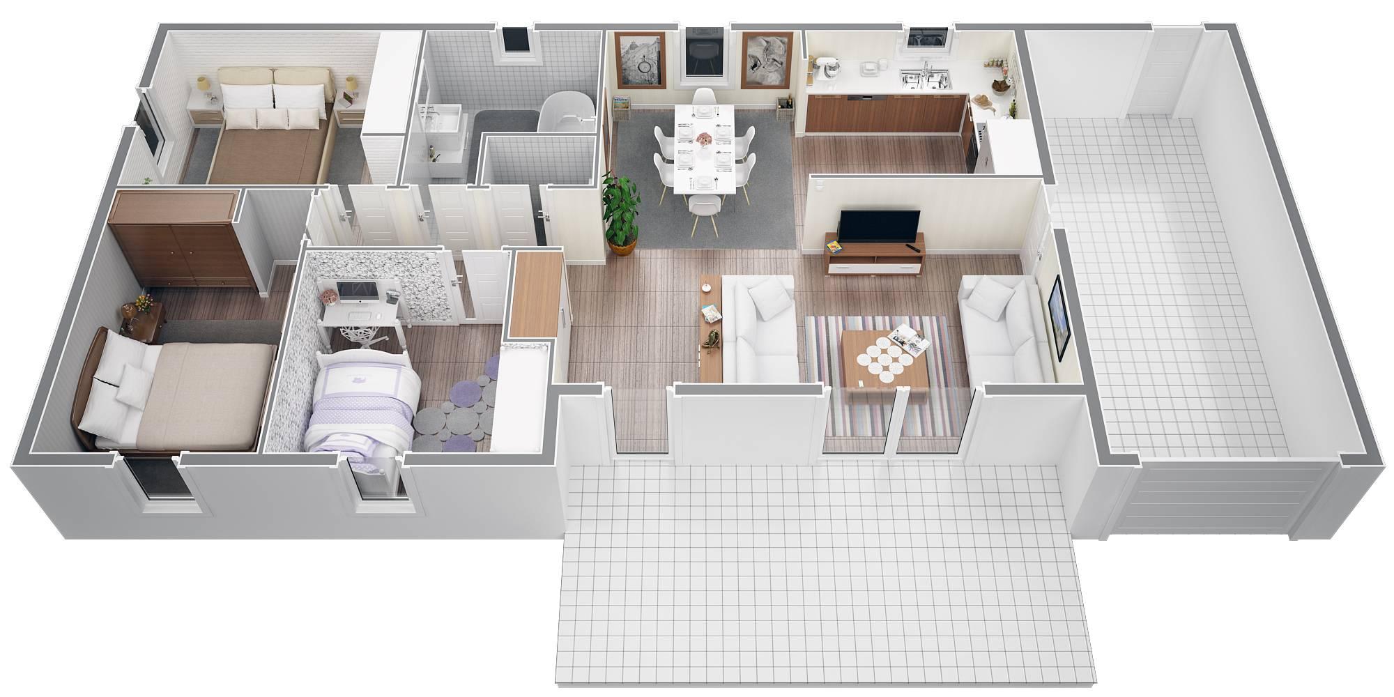 maison moderne 3 chambres