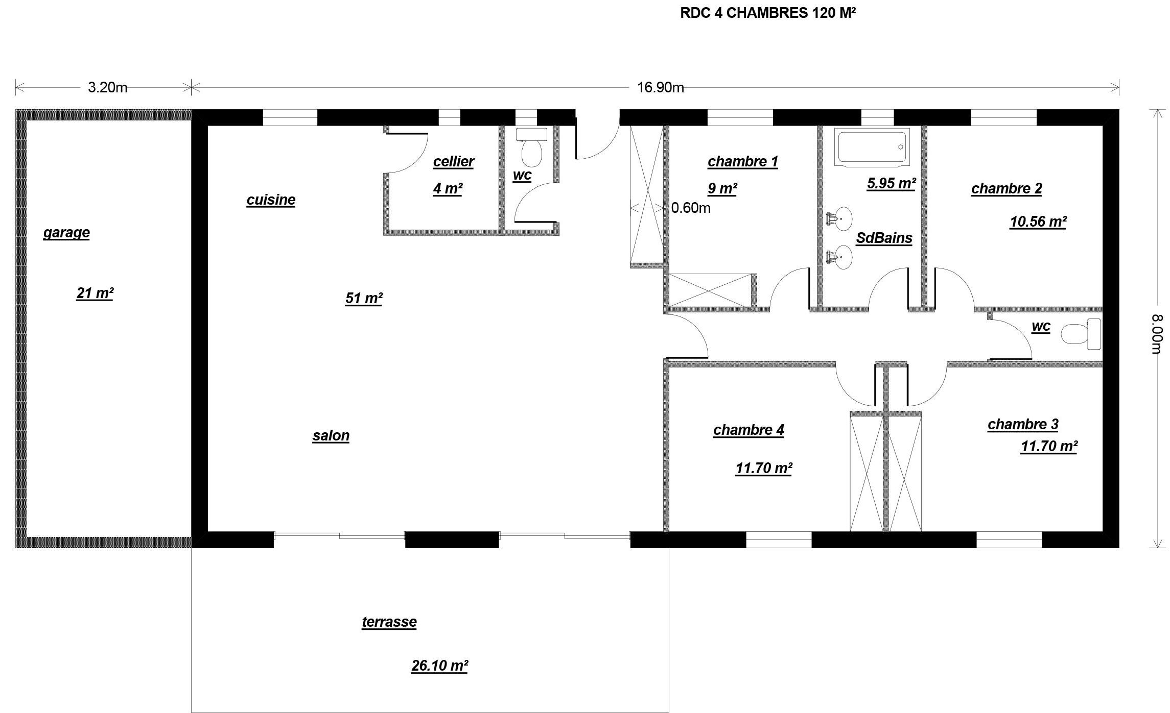 maison plain pied 120 metres carres