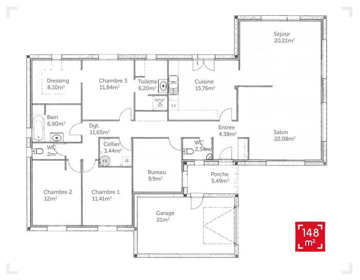 maison plain pied 170 m2