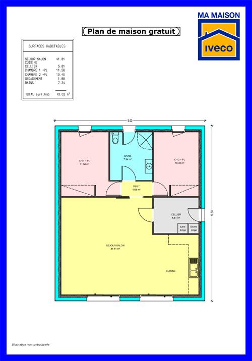 16 Superior Excellent Plan De Maison Plain Pied 2 Chambres 100m2 Maison Decor
