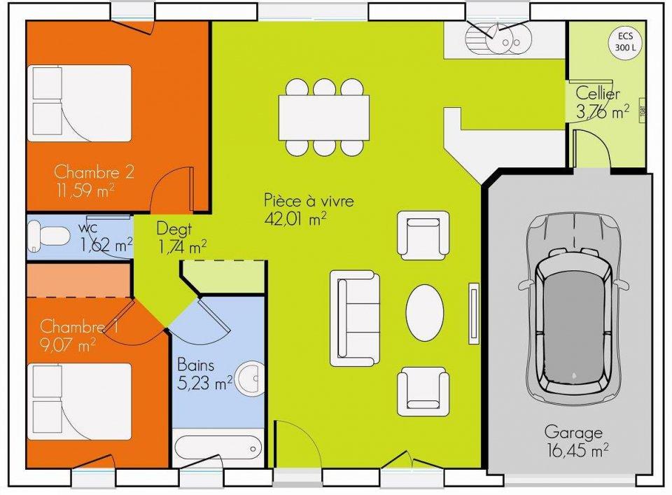 maison plain pied 2 plans