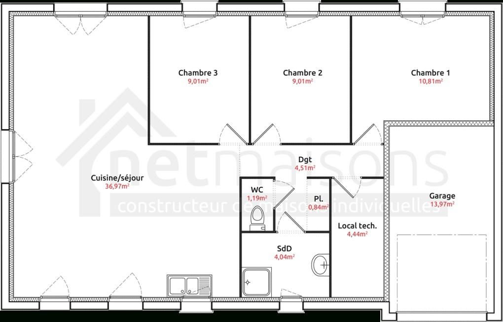 18 Great Good Plan Maison Plain Pied 3 Chambres 110M2 Sans Garage | Maison Decor