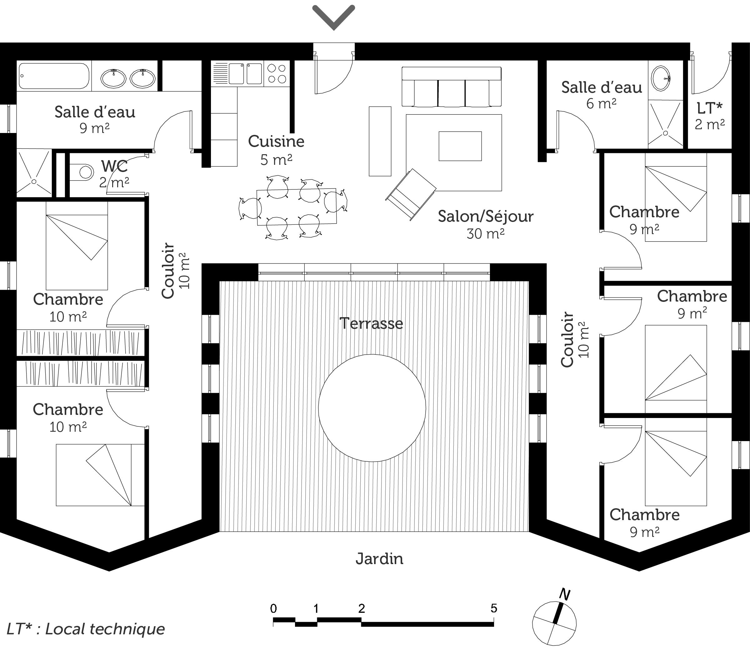 maison plain pied 5 m
