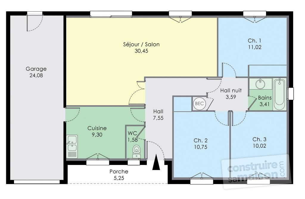 maison plain pied 55