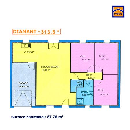 maison plain pied 80m2 3 chambres