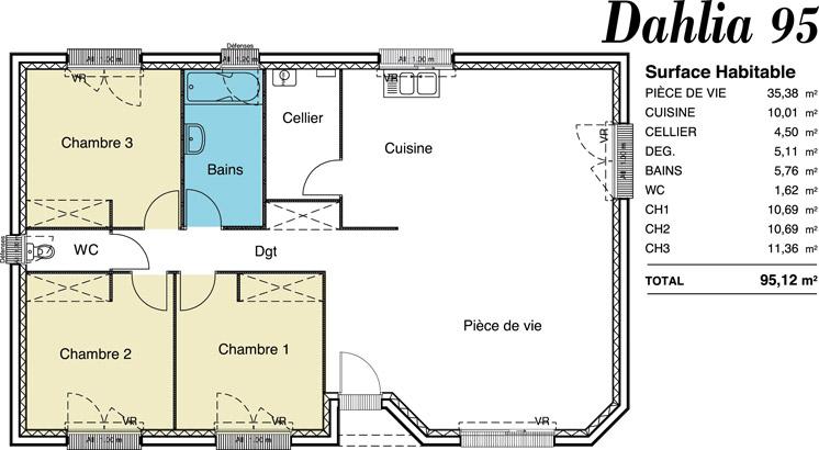 maison plain pied 95 m2