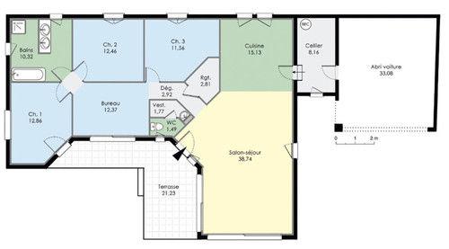 maison plain pied avec 5 chambres