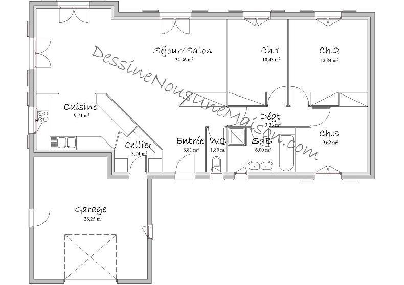 maison plain pied en l plan