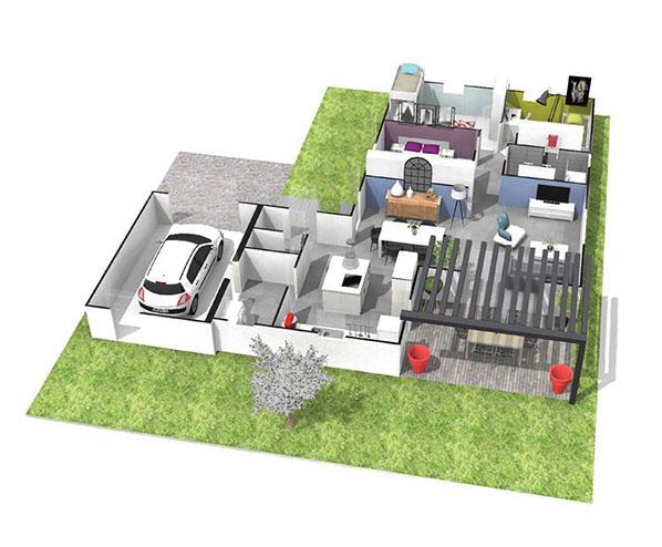 maison plain pied en l toit plat