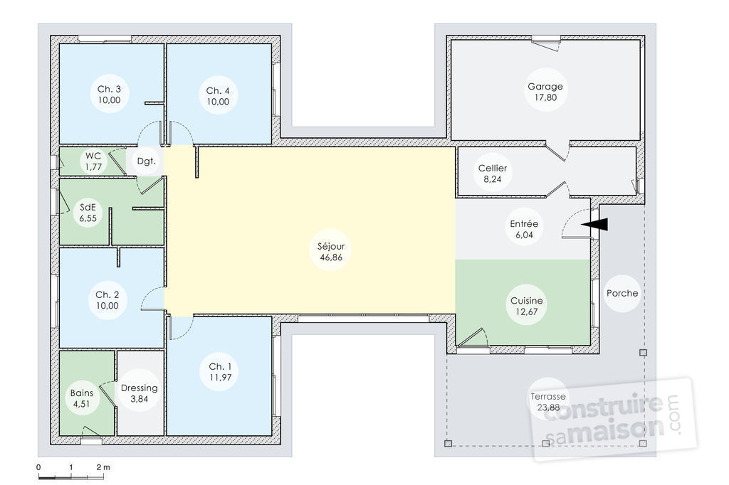 5 Awesome Great Plan Maison U Plain Pied | Maison Decor