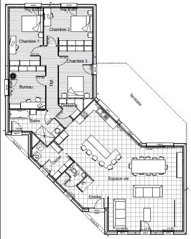 maison plain pied moderne en v