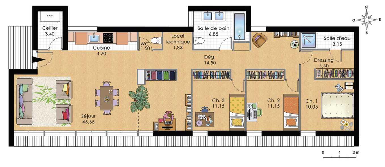 maison plain pied moderne plan