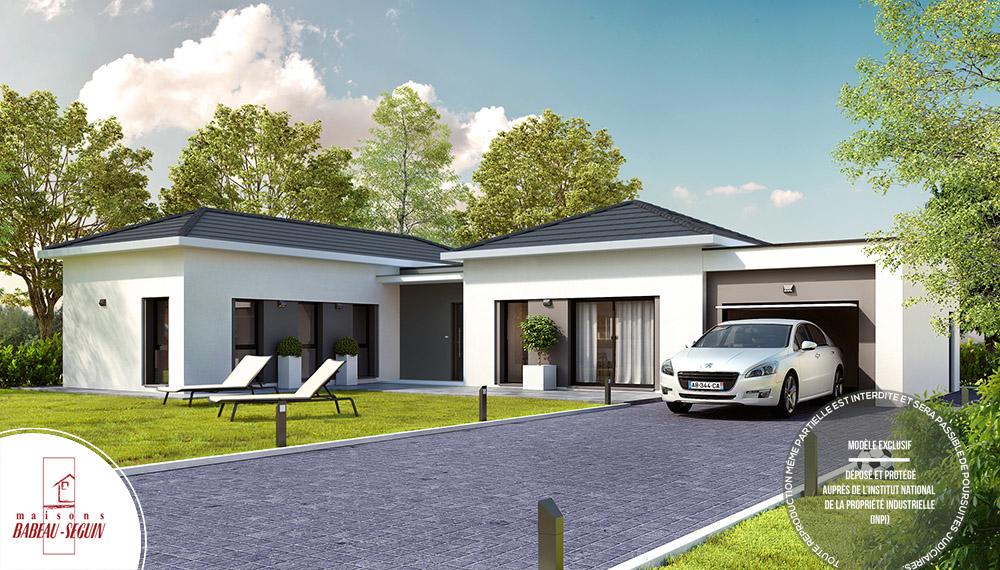 maison plain pied moderne toit plat