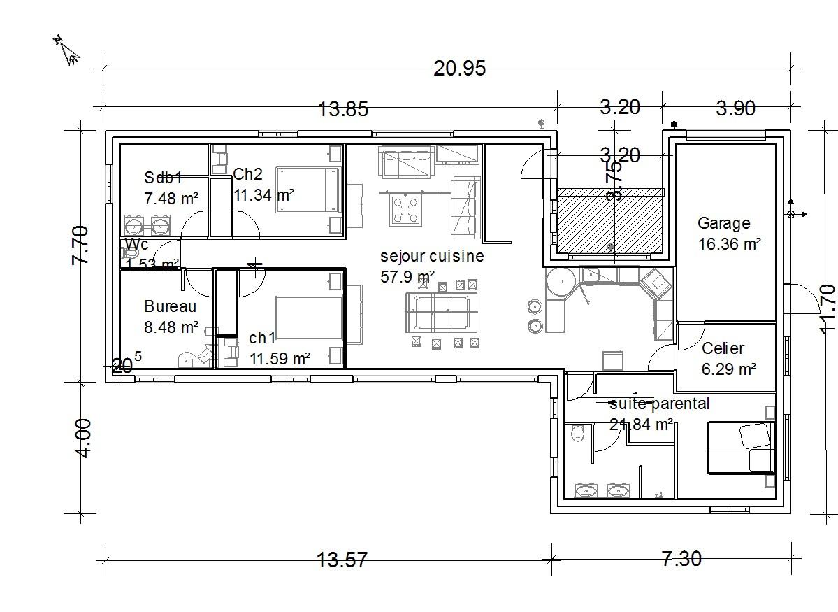 maison plain pied rectangulaire 130m2