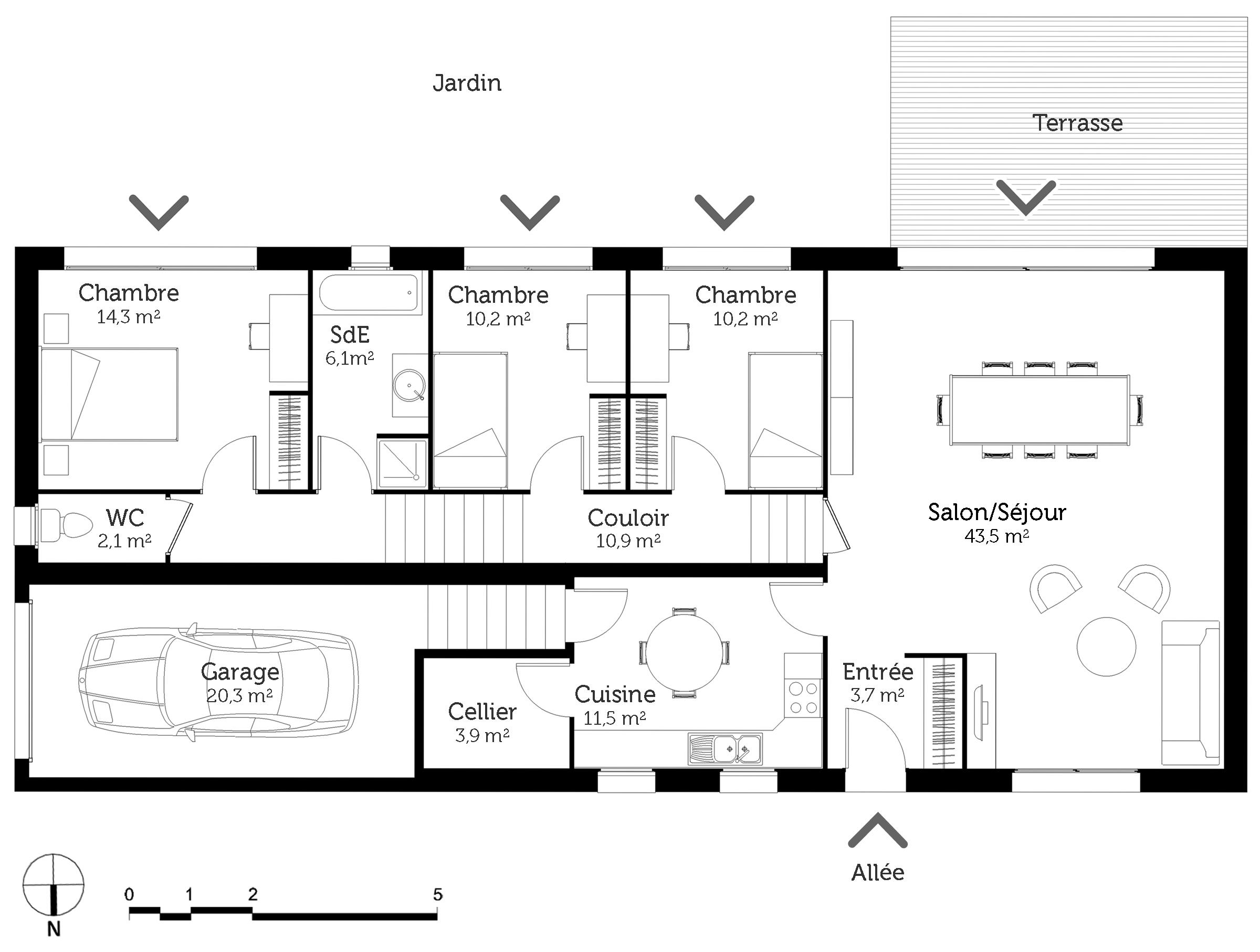 maison plain pied rectangulaire