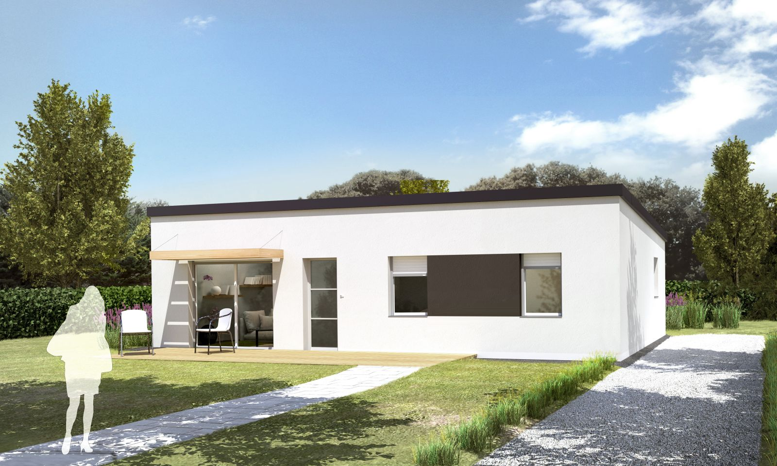 maison plain pied toiture zinc